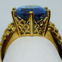 Ring 6.88g 10K yellow gold 12ct Blue Topaz (irradiated) B 5/6 - medium vivid blue