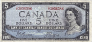 1954 $5 Note Bank of Canada - F Devils Face