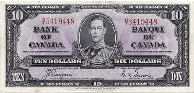 1937 $10 Note Bank of Canada - UNC