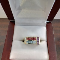 5.2g 10K Aquamarine, Garnet and Amethyst gemstone ring