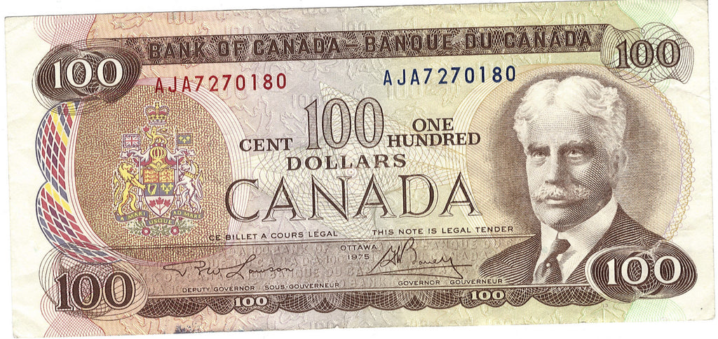 1975 $100 Note Bank of Canada - VF