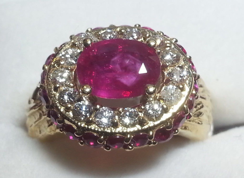 14K Synthetic Ruby Ring with Diamonds