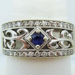 5.8g 14k Sapphire and Diamond Vintage Style Ring