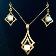 3.5g 10k Yellow Gold Opal Pendant and Earring Set
