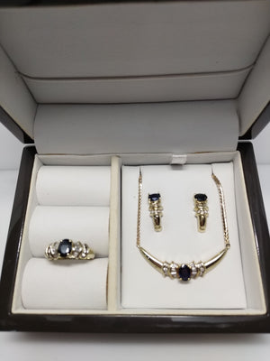 Stunning Sapphire and diamond Necklace, Earrings and Ring set in 10K Yellow gold