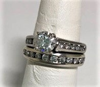 18K 1.01CT SI2, H Wedding Set