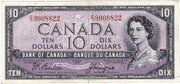 1954 $10 Note Bank of Canada - F Devils Face