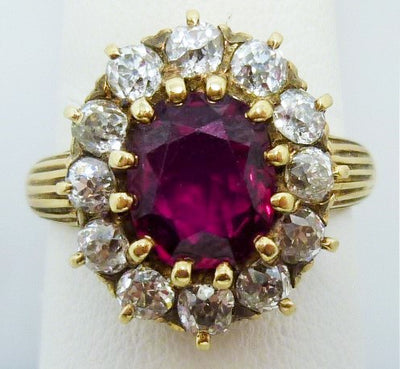 5.19g 18K, 1.75ct Burmese ruby, 1.20cttw Old Euro