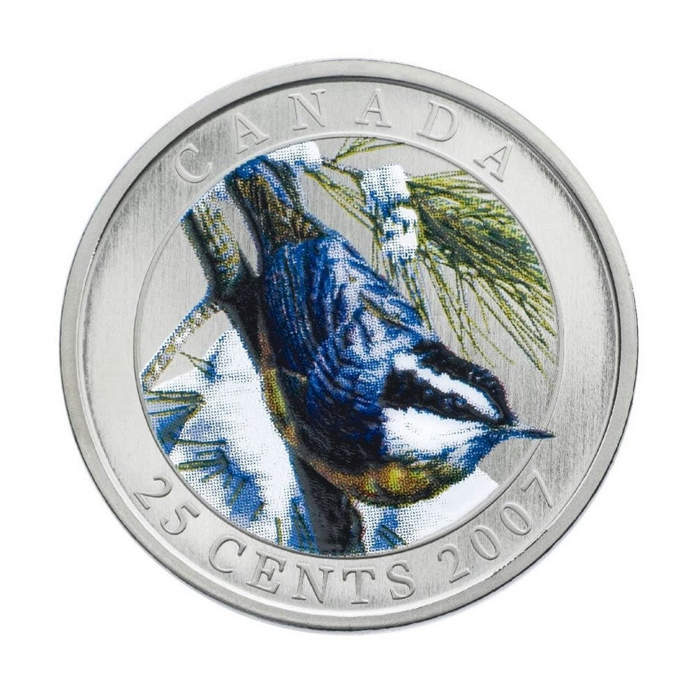 2007 25 cent coin Red Breasted Nuthatch