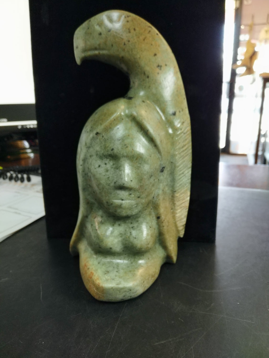 "Antoine 8"" soap stone carving Lady and Eagle"
