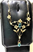Antique Gold Seed Pearl & Auquamarine Necklace