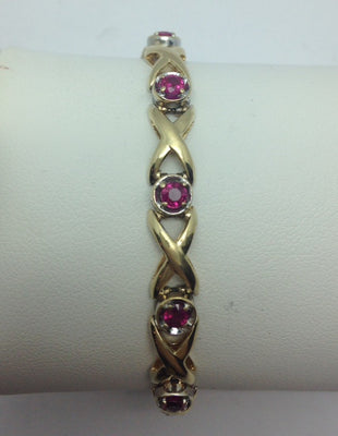 15.14g 14k Yellow Gold Ruby Bracelet