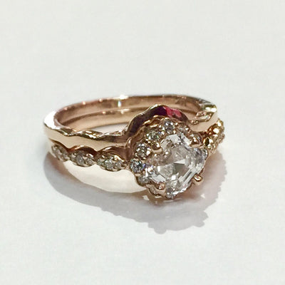 4g 14k Rose Gold 0.91ct VS2 G Asscher Cut Diamond Wedding Set