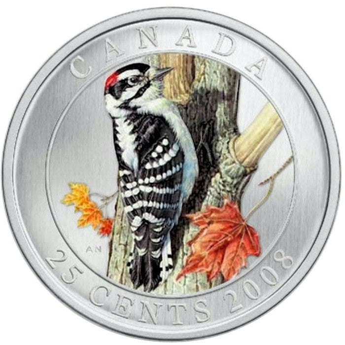 2008 Downy Woodpecker 25 cent coin