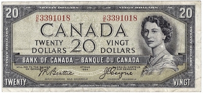 1954 $20 Note Bank of Canada - G Devils Face