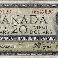 1954 $20 Note Bank of Canada - VF Devils Face