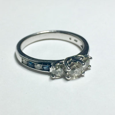 3.3g 10k White Gold Diamond and Sapphire Engagement Ring
