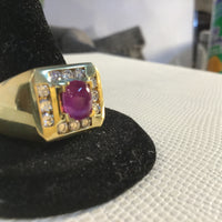 Mens Cabochon Ruby and Diamond Ring