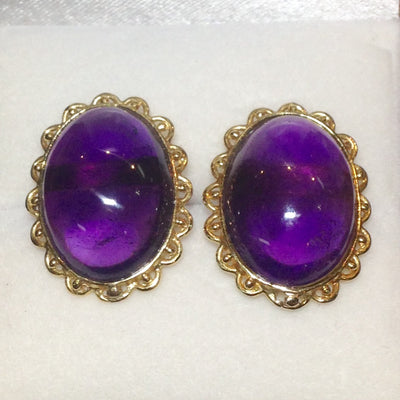 3.41g 11ct Cabochon Amethyst Earrings