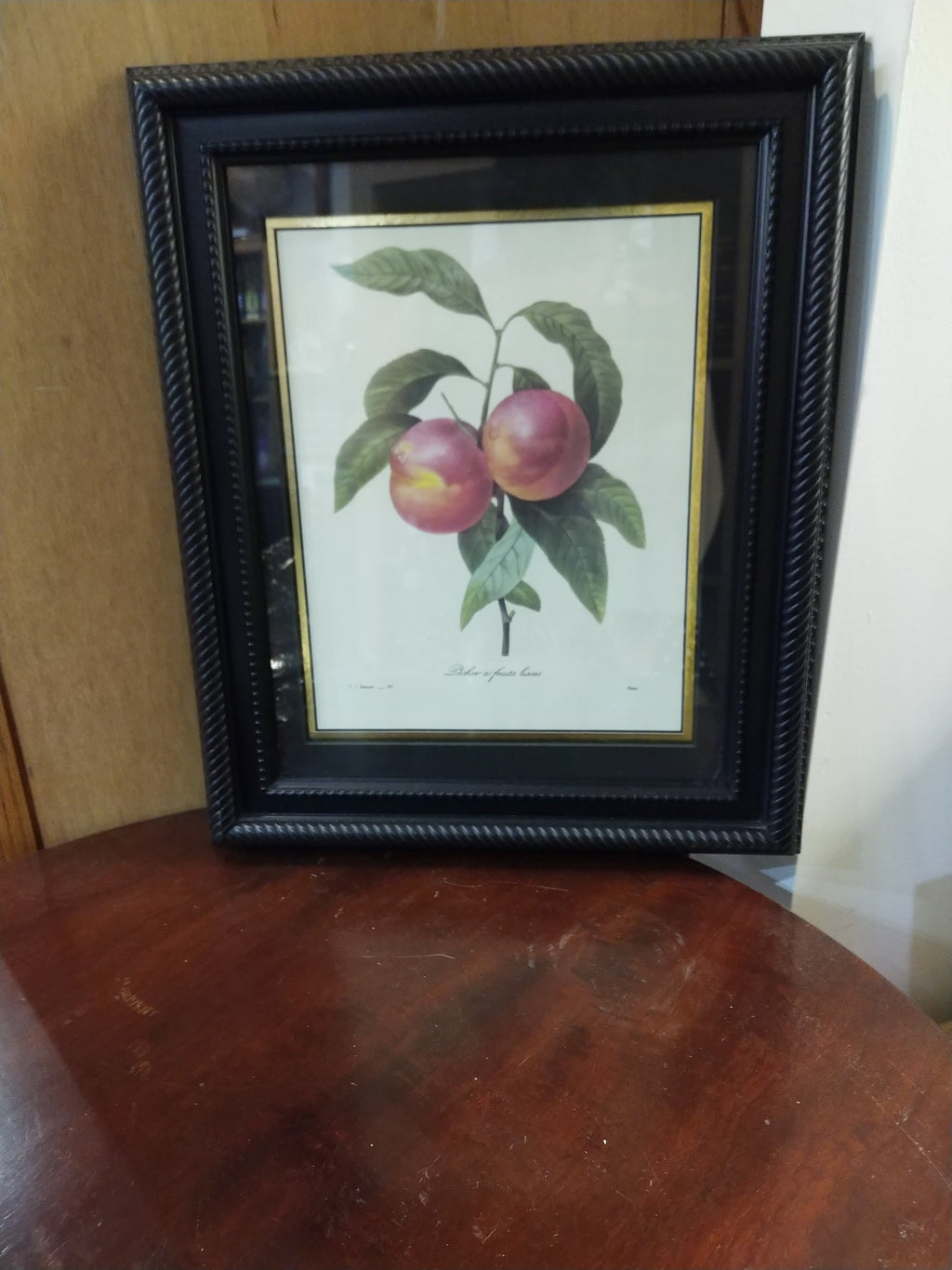 Framed Print by P.J. Redoute published in 1827 Pecher a fruits lisses
