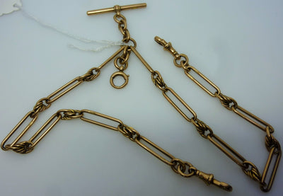 9K gold   Double Albert pocket watch chain  c. 1900