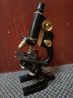 Spencer Black and Brass Microscope w/ case