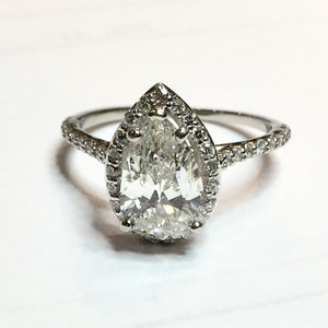 4.17g Platinum 1.8ct I1 I Pear Diamond Ring