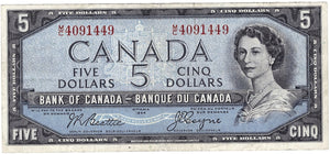 1954 $5 Note Bank of Canada - F