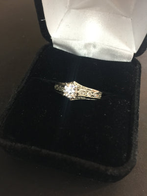 19K .46ct Engagement Ring Set Filigree Design