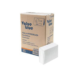 Toalla Interdoblada 12 Pzas de 250 Hojas c/u Value Blue