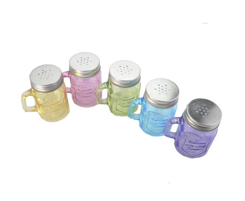 Tarro vidrio de 140 ml Mason Jar Mini Frasco color Tapa Salero Vct