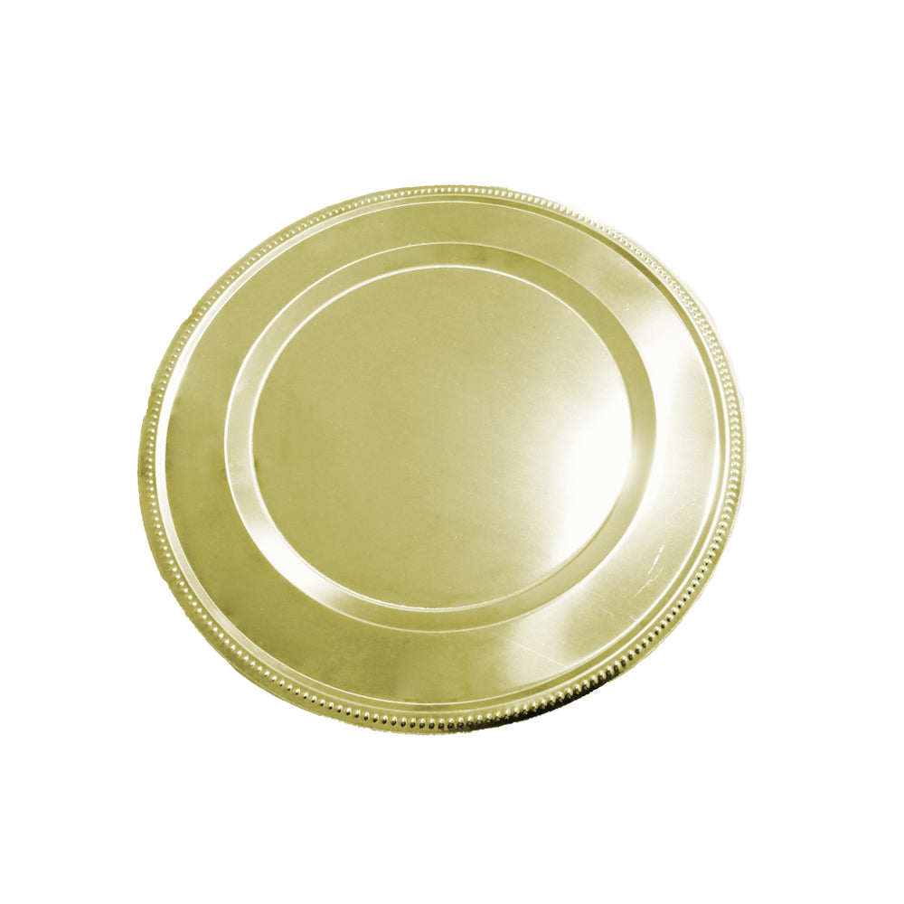Plato base acero inoxidable Dorado 31 cm decorado puntos lujo