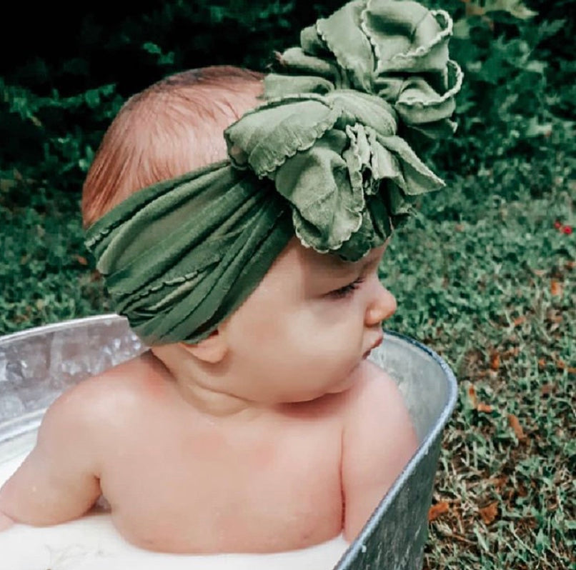 Ruffled Headband- Cedar Green
