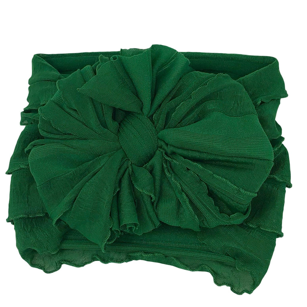 Ruffled Headband- Christmas Green