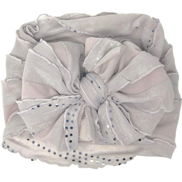 Ruffled Headband- Grey Sequin Dots
