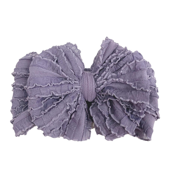 Ruffled Headband- Steel Lavender Mini