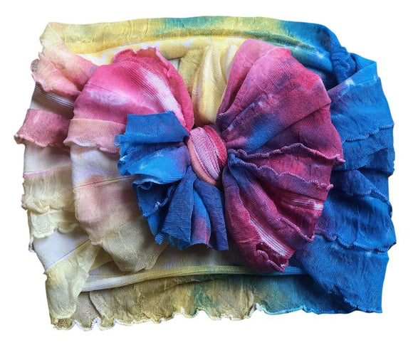 Ruffled Headband- Watercolor Tie Dye