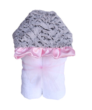 Plush Hooded Bath Towel- Ziggy Girl Pink