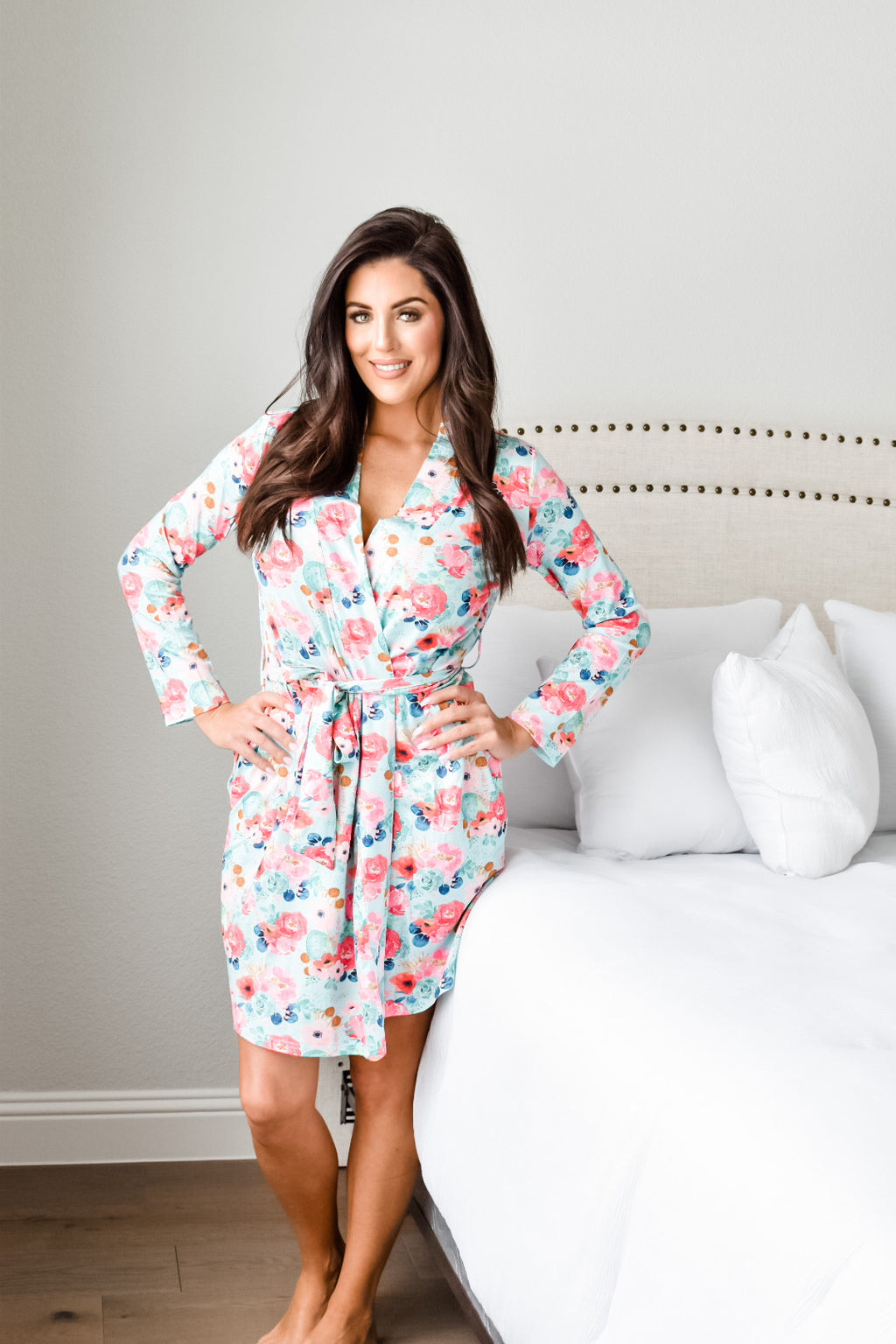 Aqua Blossom Mommy Robe