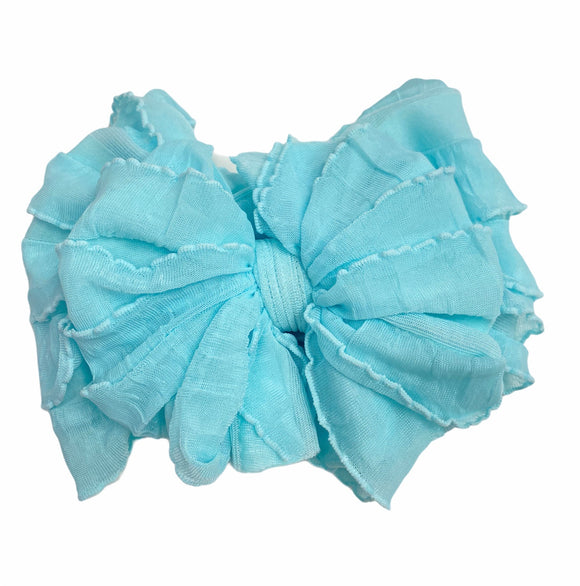 Ruffled Headband- Aqua