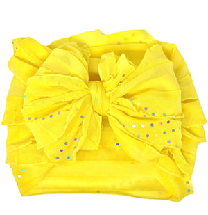 Ruffled Headband- Lemonade Sequin