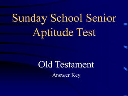 Sunday School Senior Aptitude Test Answers - Old Testament