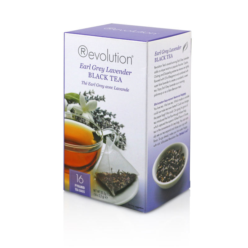 Revolution Earl Grey Lavender Whole Leaf Tea 16 Pyramid Bags
