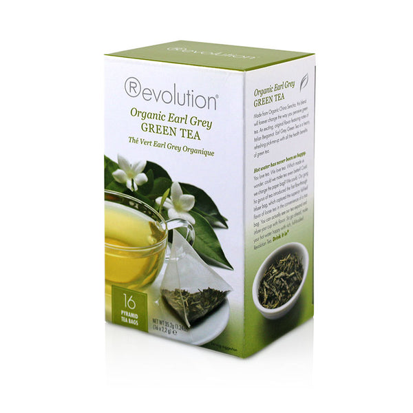 Revolution Organic Earl Grey Green Whole Leaf Tea 16 Pyramid Bags