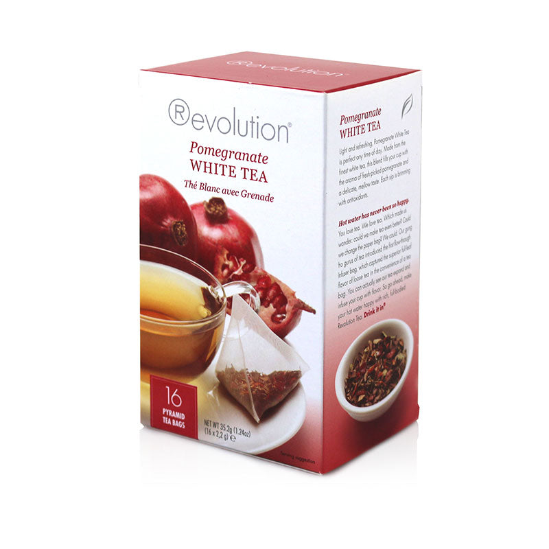 Revolution Pomegranate White Whole Leaf Tea 16 Pyramid Bags
