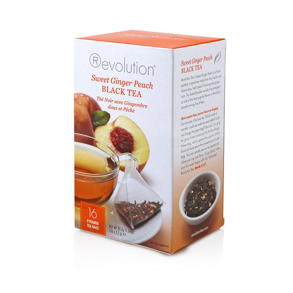 Revolution Sweet Ginger Peach Whole Leaf Tea 16 Pyramid Bags