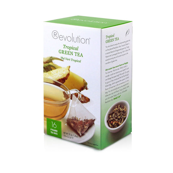 Revolution Tropical Green Whole Leaf Tea 16 Pyramid Bags