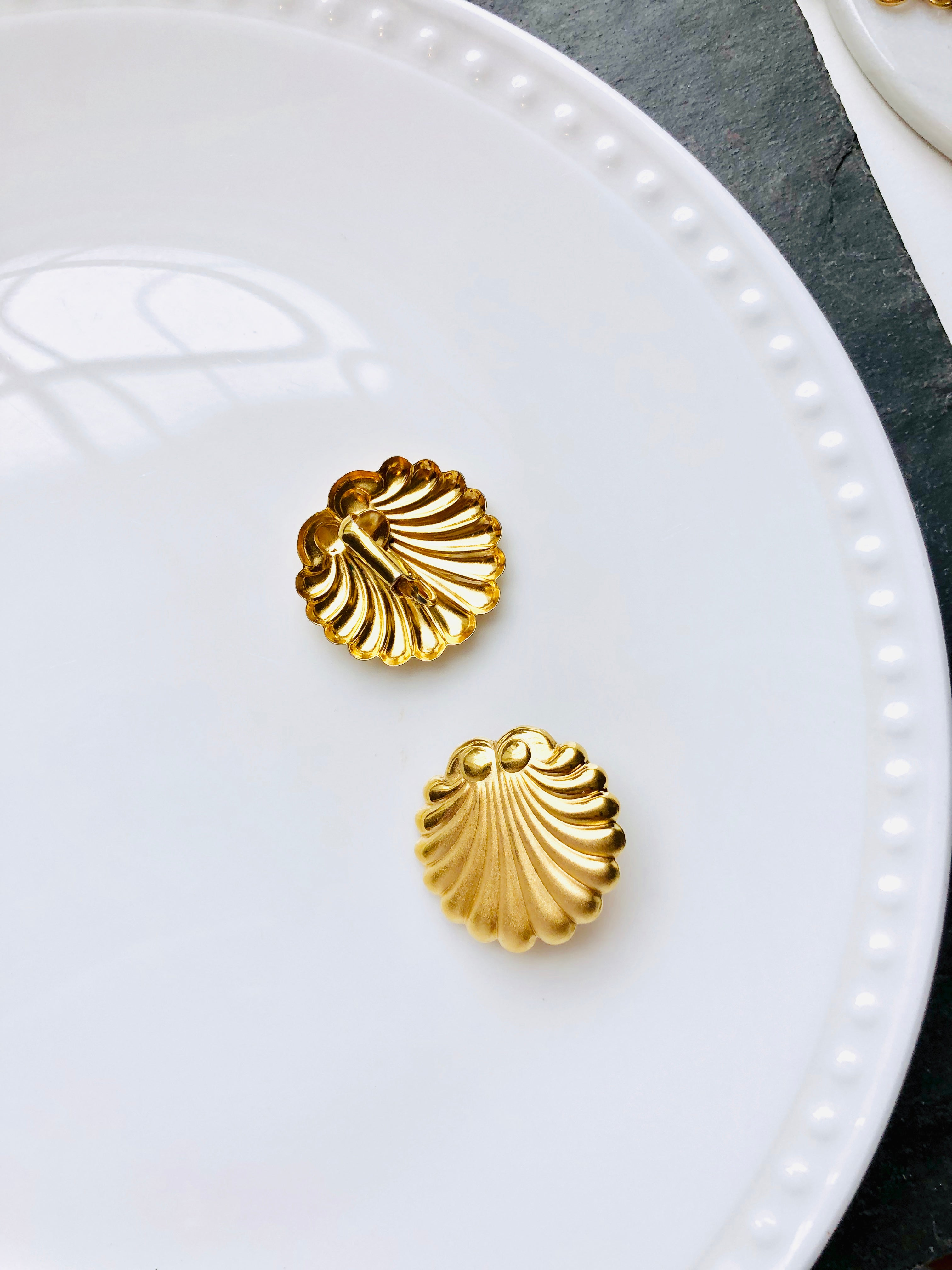 Scallop Shell Gold Statement Earrings