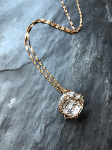 Mesh Clear Crystal Ball Gold Pendant Necklace
