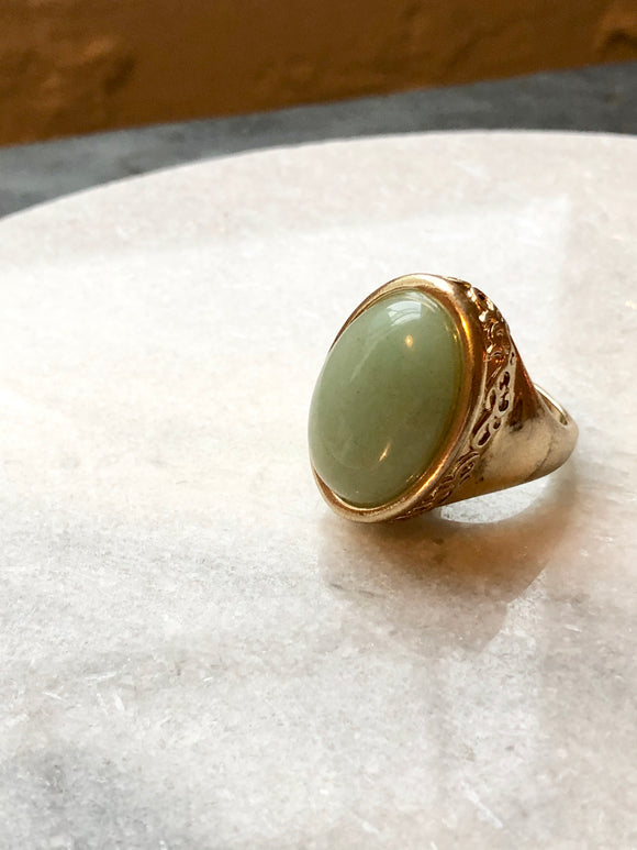 Cabochon Green Nephrite Jade Gold Ring